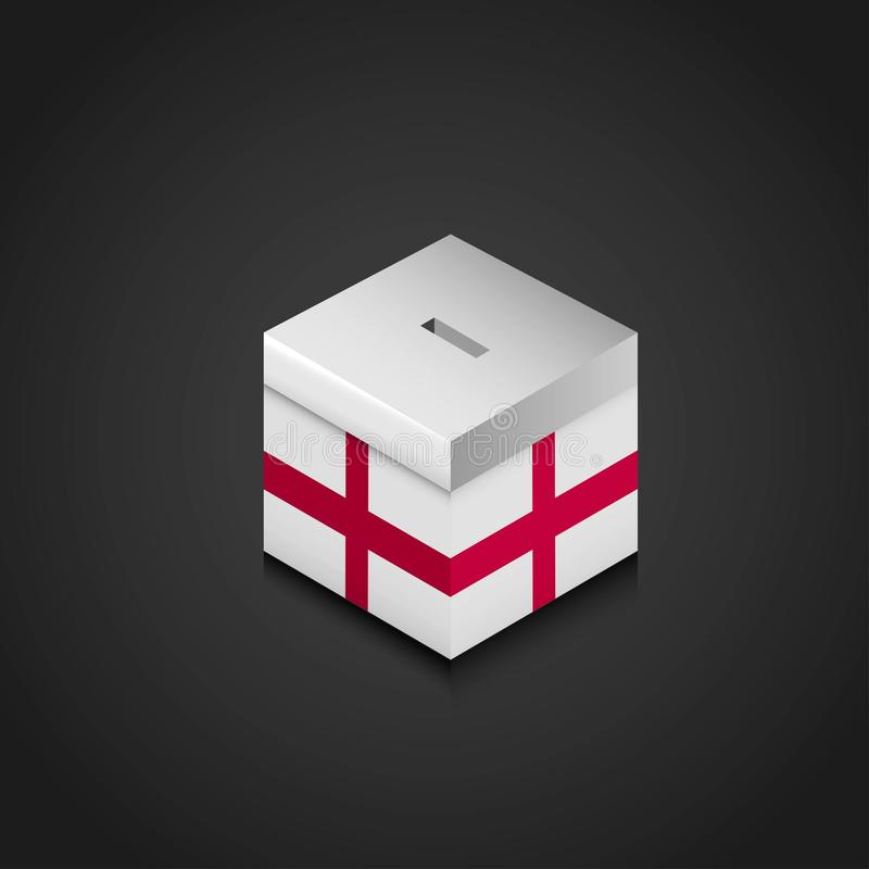 England United Kingdom Flag Printed on Vote Box. Vector EPS10 Abstract Template background stock illustration