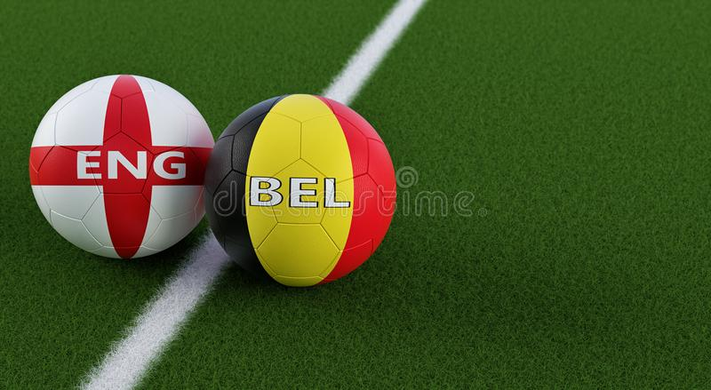 England vs. Belgium Soccer Match - Soccer balls in Englands and Belgian national colors on a soccer field. Copy space on the right side - 3D Rendering royalty free illustration