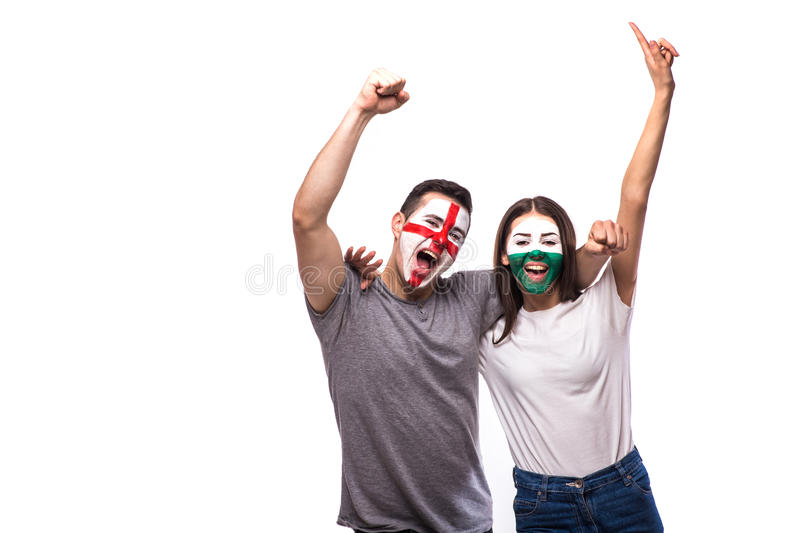 England vs Wales on white background. Football fans of national teams celebrate, dance and scream. European football fans concept stock photos