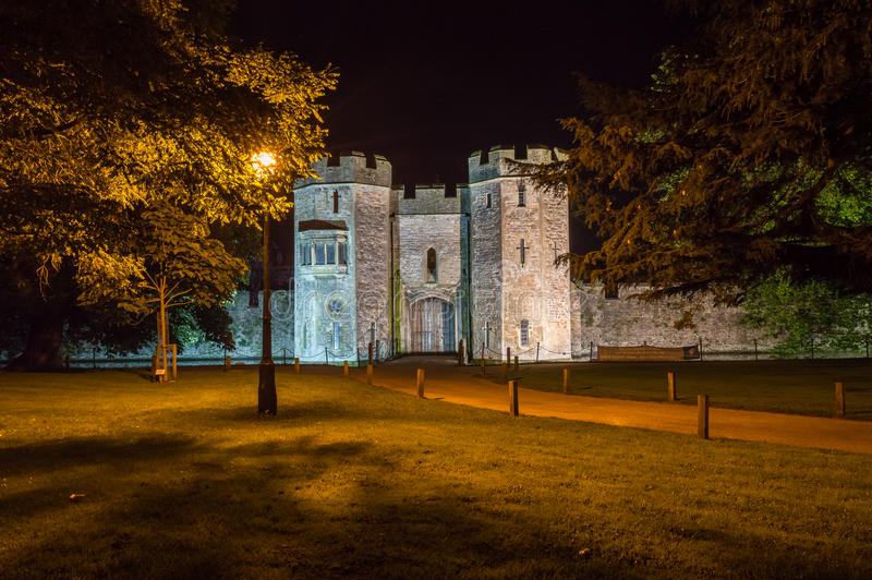 ENGLAND, WELLS - 20 SEP 2015: The Bishops's Palace by night B. Night photography royalty free stock images