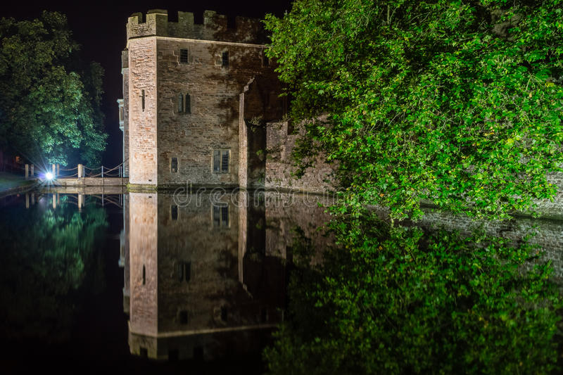 ENGLAND, WELLS - 20 SEP 2015: The Bishops's Palace by night C. Night photography stock photo