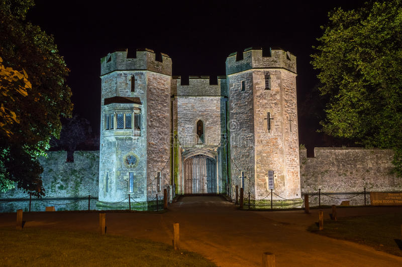 ENGLAND, WELLS - 20 SEP 2015: The Bishops's Palace by night A. Night photography stock photography