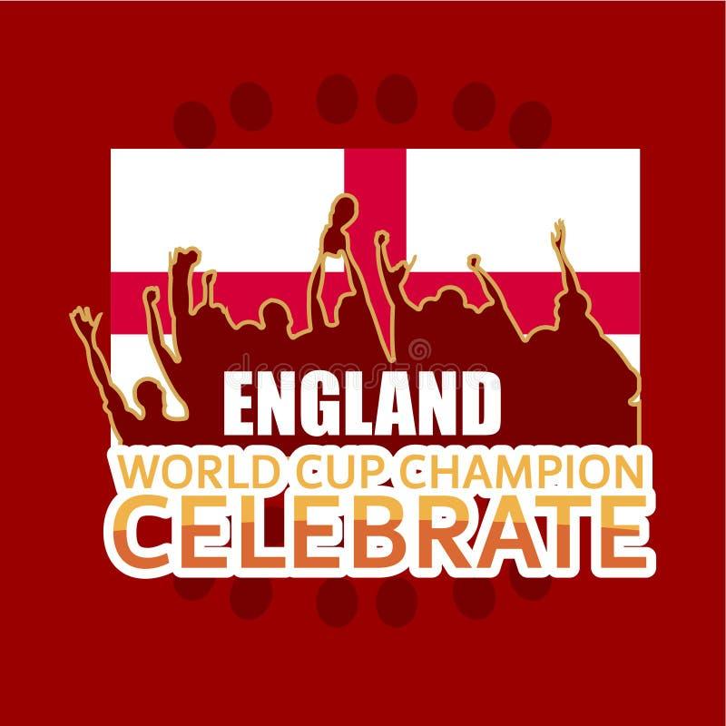 England-Weltcup-Meister feiern Vektor-Schablonen-Entwurfs-Illustration lizenzfreie abbildung