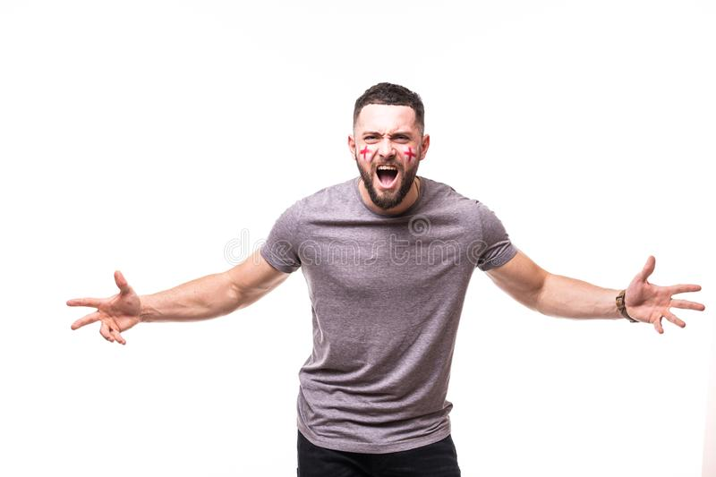 England win. Victory, happy and goal scream emotions of England football fan in game support of England national team on white bac stock image