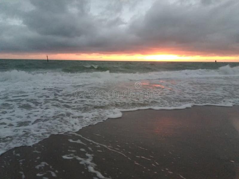 Englewood Florida strand på solnedgången fotografering för bildbyråer