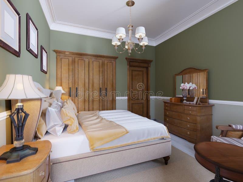 Englisch-ähnliches Schlafzimmer mit einem großen weichen Gewebebett Nachttische mit Lampen Große Garderobe und Aufbereiter mit Sp lizenzfreie abbildung