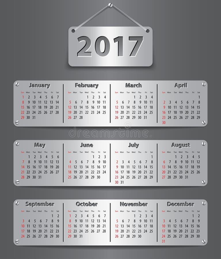 2017 Englisch calendar_tablet vektor abbildung