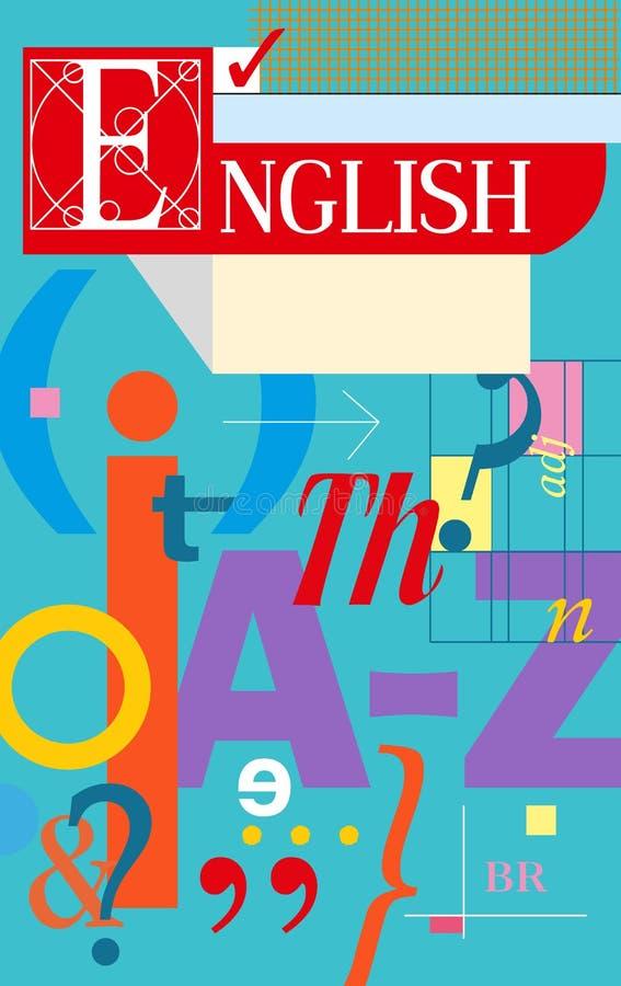 Englischabdeckung Lehrbuch und Notizbuch vektor abbildung