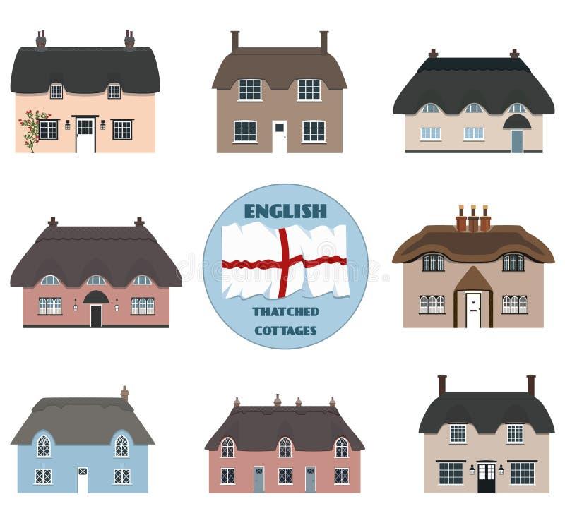 Englische alte mit Stroh gedeckte Häuschen und Flagge von England stock abbildung