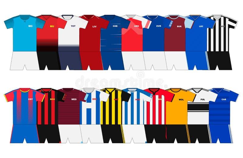 Englische Fußballausrüstungen stock abbildung
