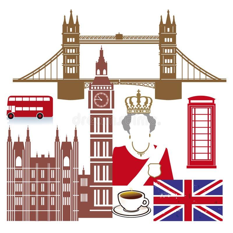 Englische Ikonen stock abbildung