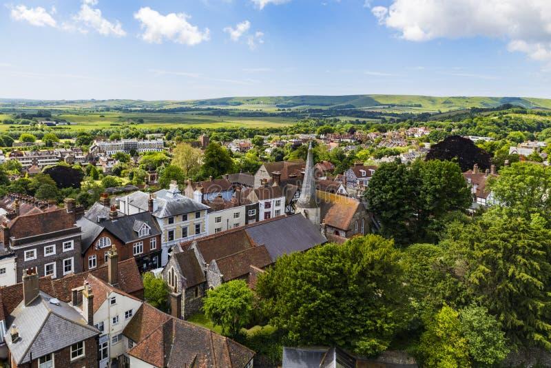 Englische Landschaft von Lewes-Schloss stockbilder