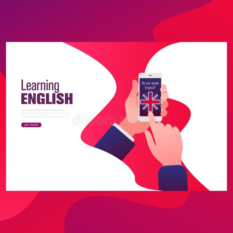 Englische Lektion auf dem Schirm eines Handys Einzelne Studie einer Fremdsprache unter Verwendung der beweglichen Anwendungen lizenzfreie abbildung