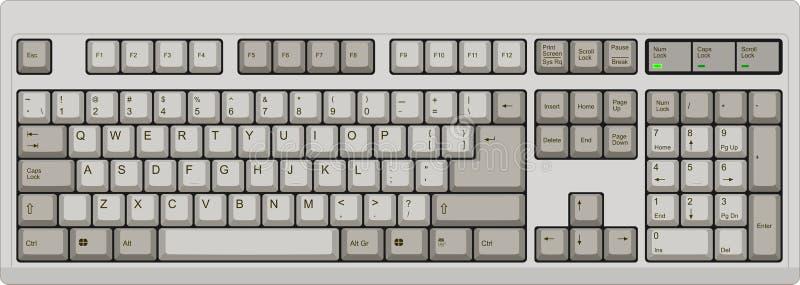 Englische QWERTYcomputertastatur US grau lizenzfreie abbildung