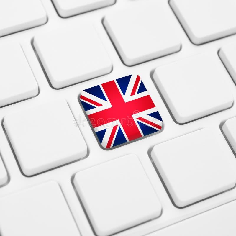 Englische Sprache oder Großbritannien-Netzkonzept Flaggenknopf Vereinigten Königreichs stock abbildung