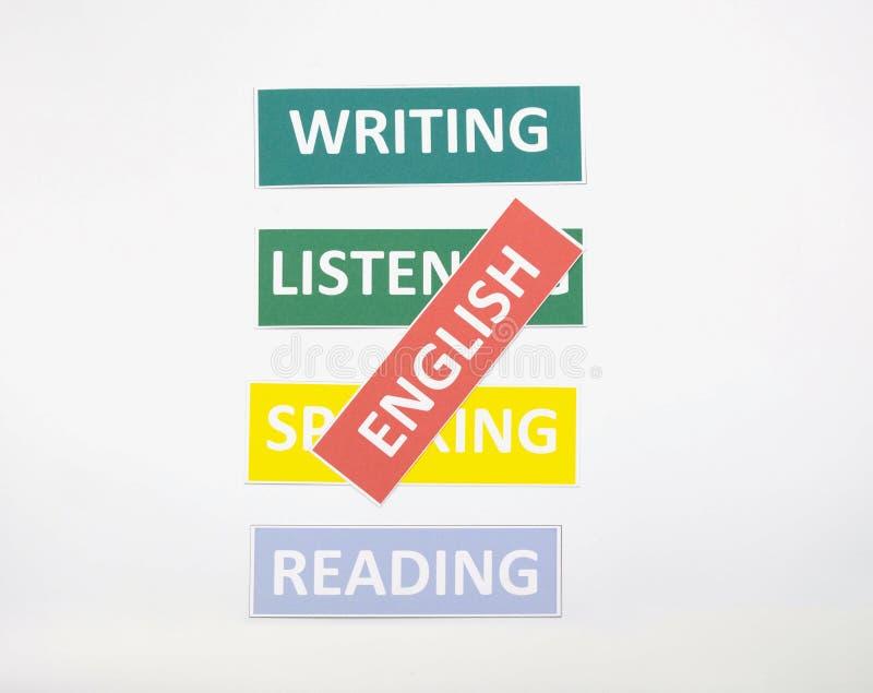 Englische Wortkarten auf weißem Hintergrund lizenzfreies stockfoto