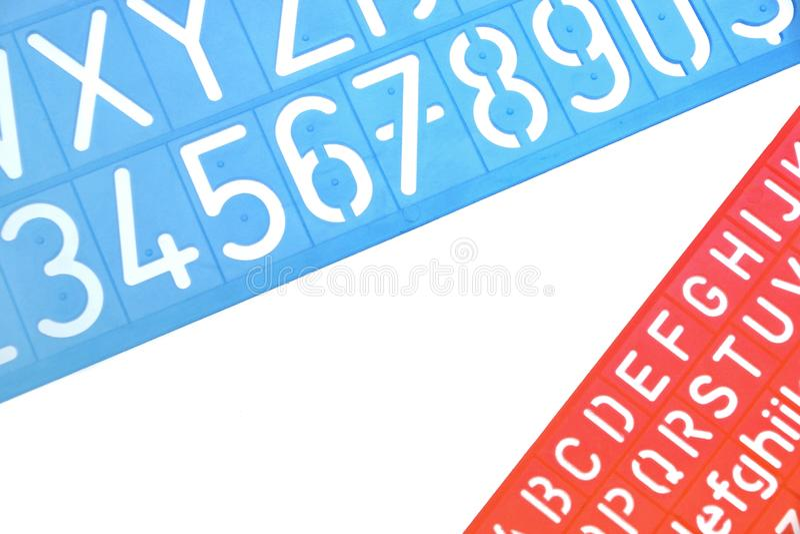 Englischer Buchstabe-Plastik schabloniert Alphabet stockfotos