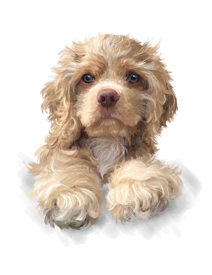 Englischer Cockerspaniel Adobe Photoshop für Korrekturen Acrylbild Beige Hund stockfoto