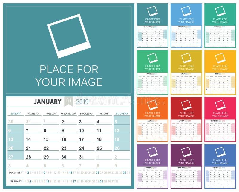 Englischer Kalender 2019 vektor abbildung