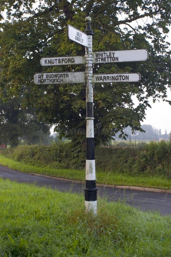 Englischer Signpost Stockfoto