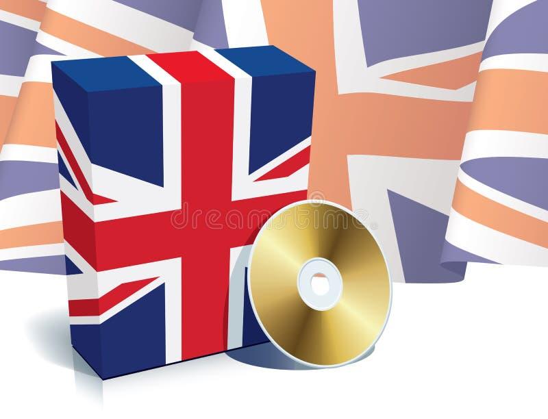 Englischer Software Kasten und CD lizenzfreie abbildung
