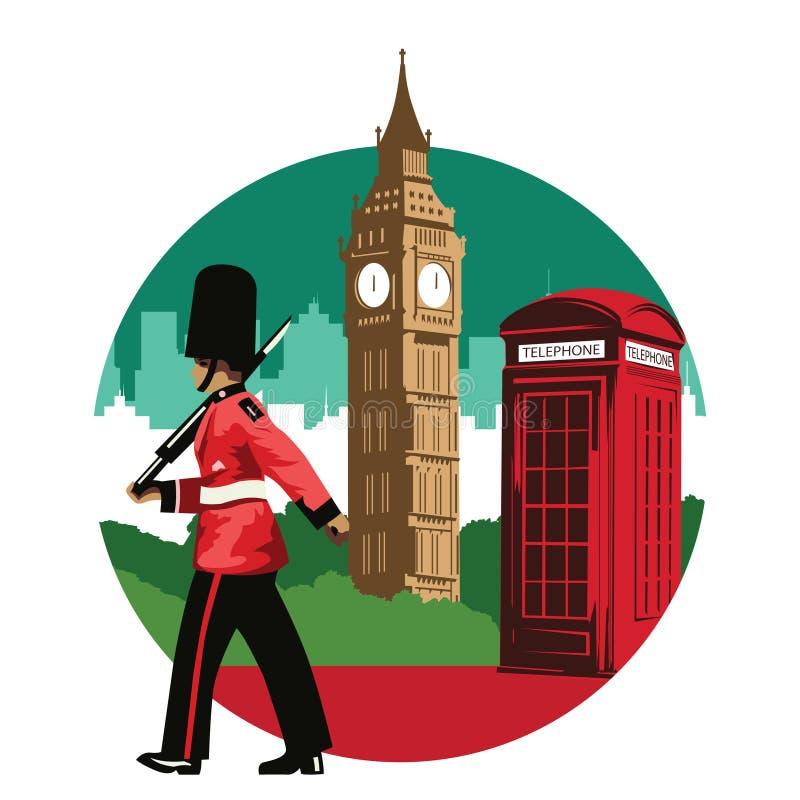 Englischer Soldat, rote Telefonzelle und Big Ben, berühmter Markstein stock abbildung