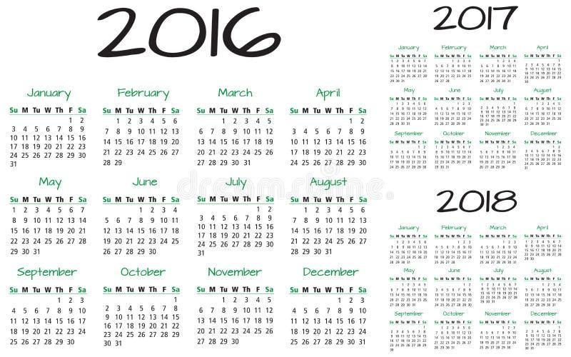 Englischer Vektor des Kalenders 2016-2017-2018 vektor abbildung