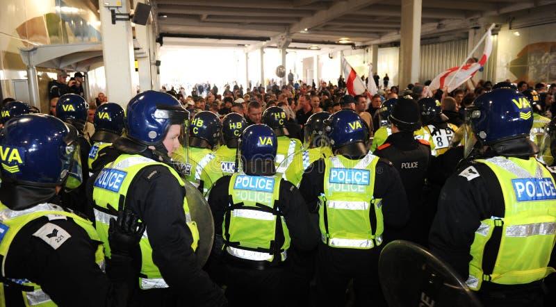 Englischer Verteidigung-Liga-Protest lizenzfreies stockbild