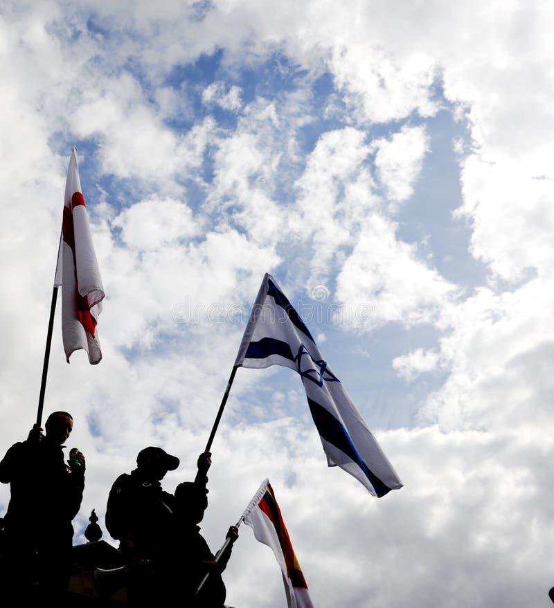 Englischer Verteidigung-Liga-Protest lizenzfreie stockfotos