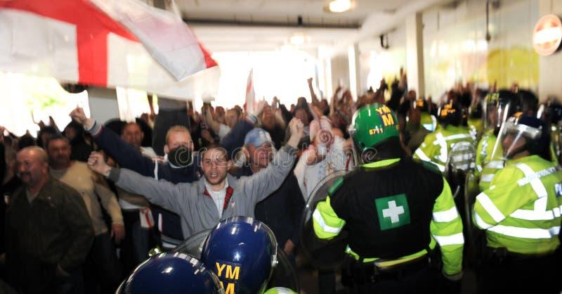 Englischer Verteidigung-Liga-Protest stockbilder