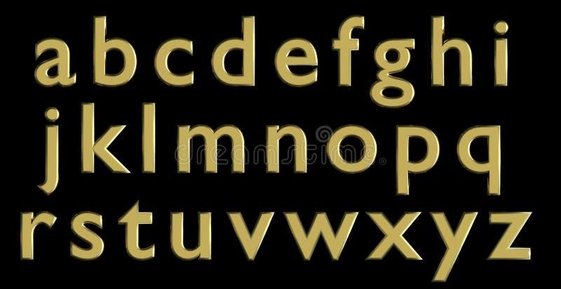 Englisches Alphabet in den Goldkleinbuchstaben, kundenspezifische Variante des Gusses 3D stock abbildung