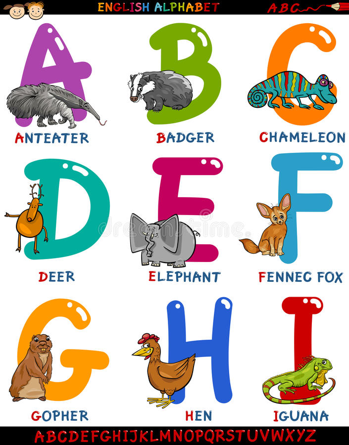 Englisches Alphabet der Karikatur mit Tieren stock abbildung
