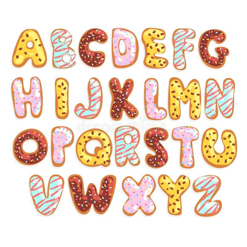 Englisches Alphabet des süßen Plätzchens, essbare Bäckereibuchstaben in Form der glasig-glänzenden Plätzchen vector Illustration  lizenzfreie abbildung