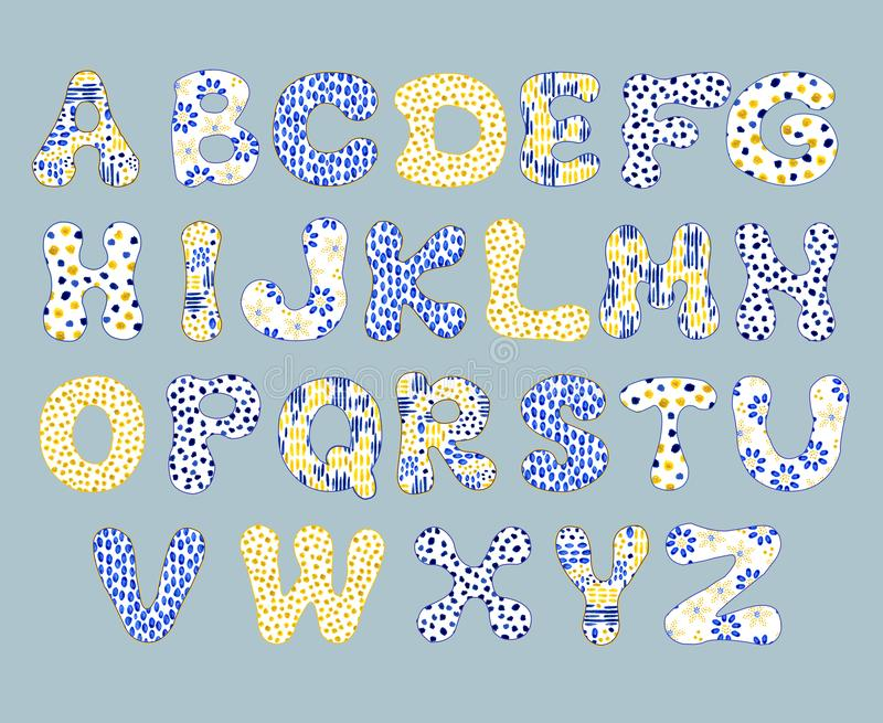 Englisches Alphabet, lokalisiert auf einem weißen Hintergrund, in einem eleganten Rahmen, handgeschrieben Bl?hende B?ume auf den  lizenzfreie abbildung