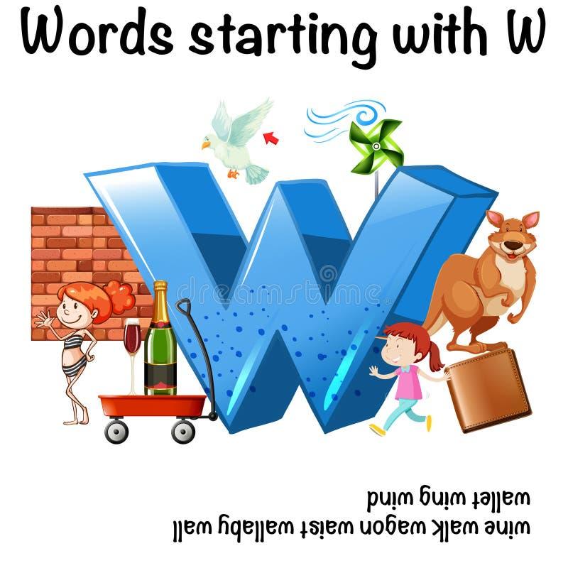 Englisches Arbeitsblatt Für Die Wörter, Die Mit W Beginnen Stock ...