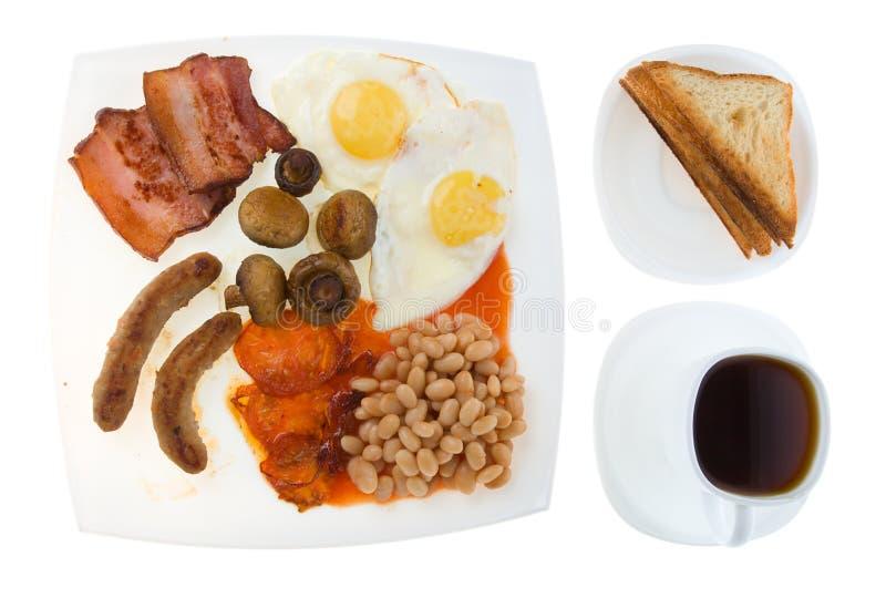 Englisches Frühstück mit Tasse Kaffee lizenzfreies stockfoto