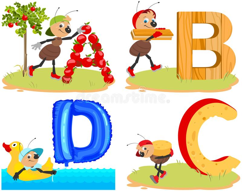 English ABC alphabet for children. Insect ant and letters. Apple, board, cheese, duck. Vector cartoon illustration stock illustration