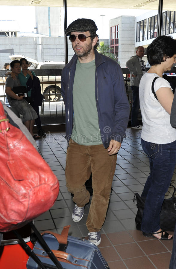 English actor Michael Sheen is seen at LAX stock images