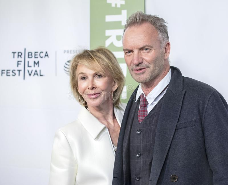 Trudie Styler and Sting at 35th Anniversary of THIS IS SPINAL TAP at 2019 Tribeca Film Festival stock photography
