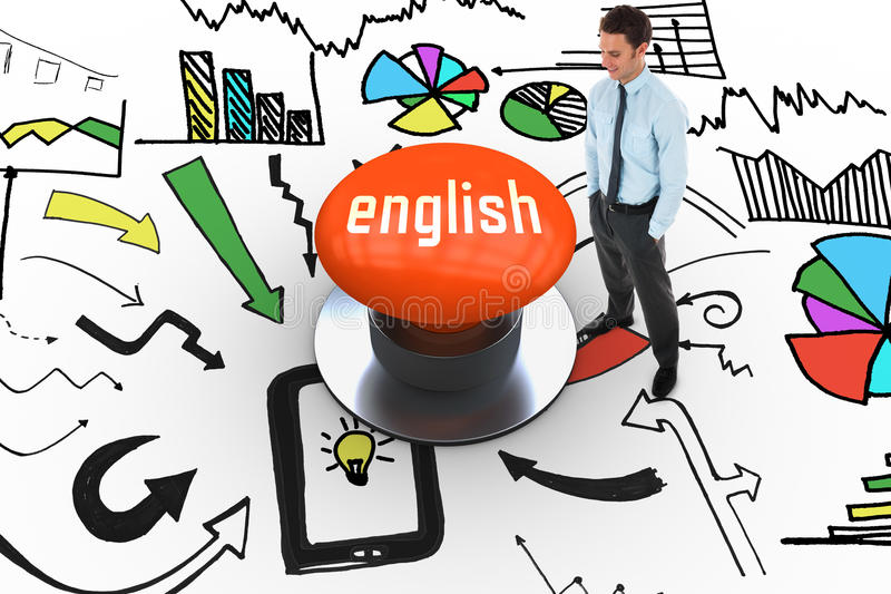 English against orange push button. The word english and happy businessman standing with hands in pockets against orange push button vector illustration