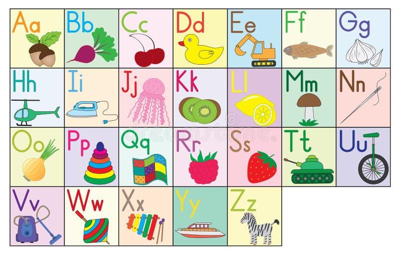 English alphabet, cards, set. Education for kids. stock illustration
