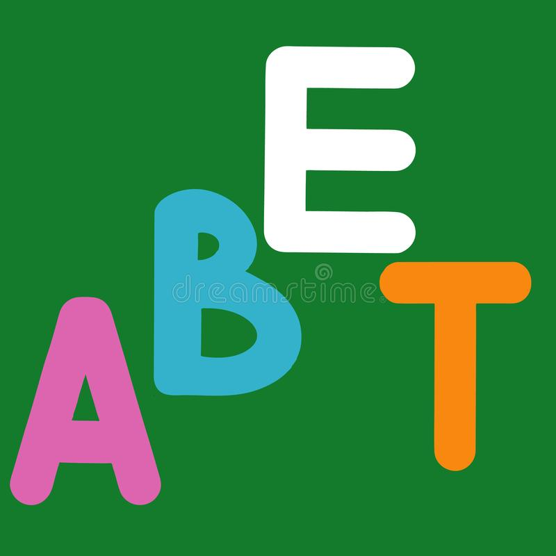 English alphabet for children education, letters ABET uppercase half word alphabet. Cute kids colorful ABC alphabet in cartoon. Style, flashcard for learning stock illustration