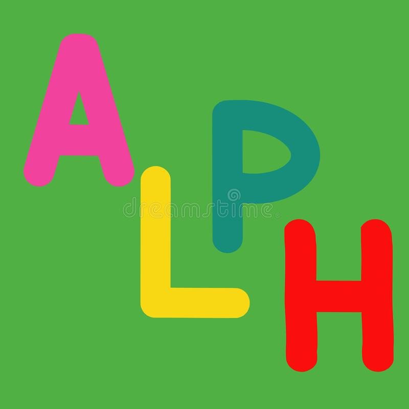 English alphabet for children education, letters ALPH uppercase half word alphabet. Cute kids colorful ABC alphabet in cartoon. Style, flashcard for learning stock illustration