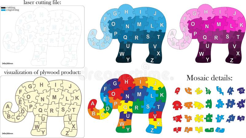 English alphabet for children. Mosaic in the form of an elephant stock illustration
