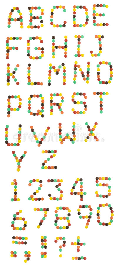 English alphabet from colorful candies stock images