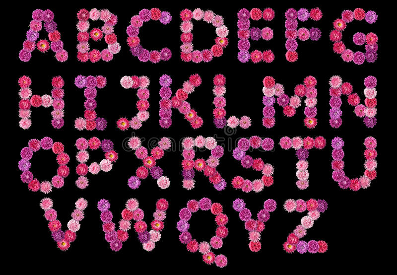 English alphabet from colorful flowers asters. On a black background stock images
