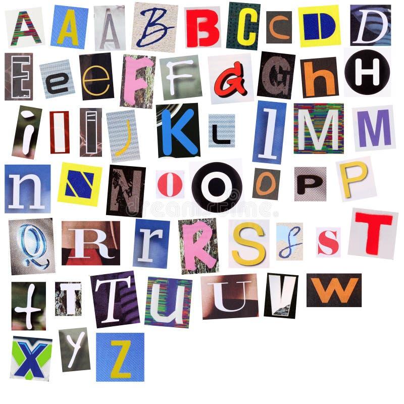 English alphabet cut from magazine. Isolated on white background stock illustration