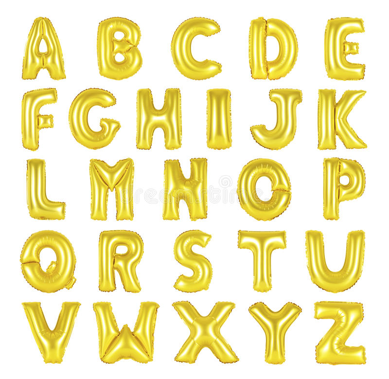 English alphabet golden color. English alphabet from golden color balloons on a white background. holidays and education stock image