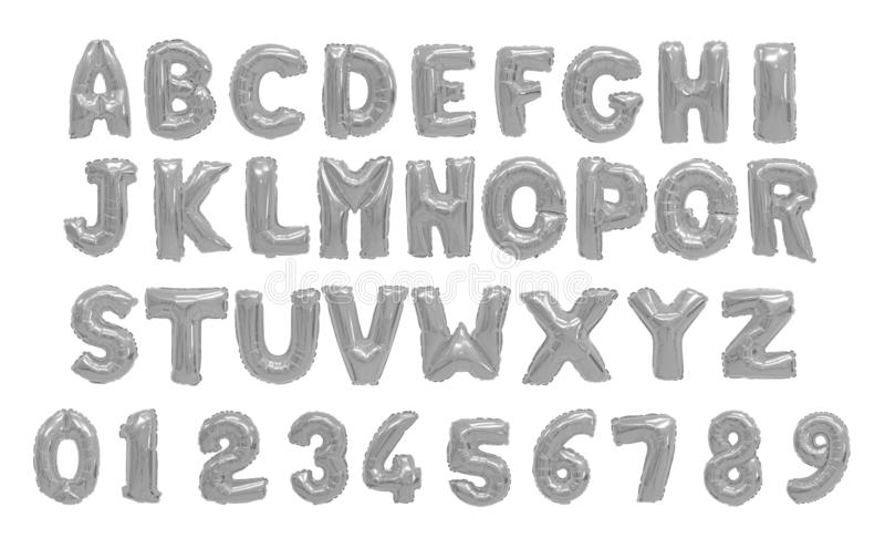 English alphabet grey, chrome stock photography