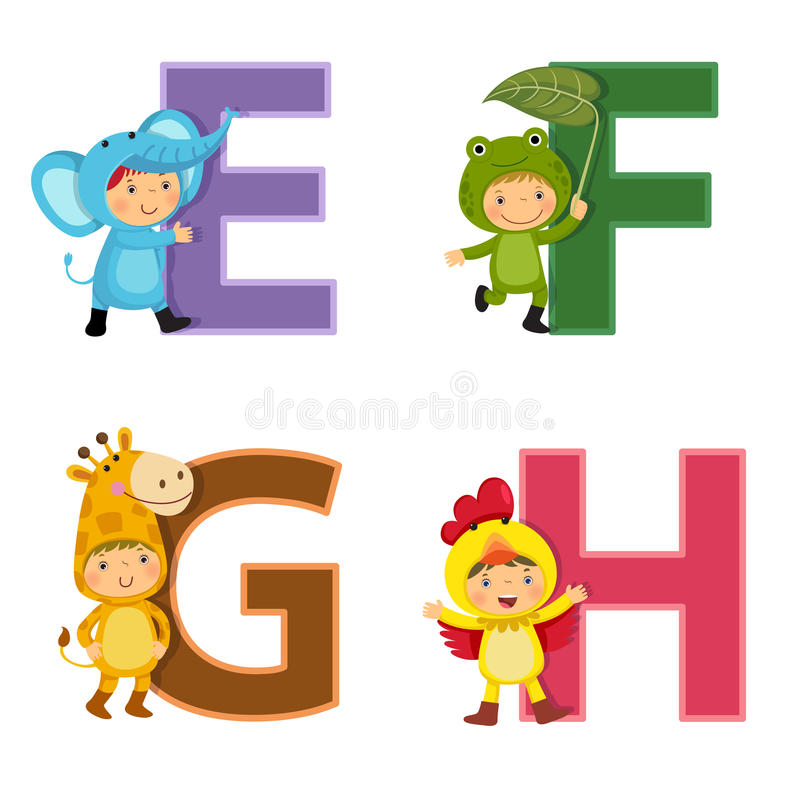 English alphabet with kids in animal costume, E to H letters. Set of English alphabet with kids in animal costume, E to H letters royalty free illustration